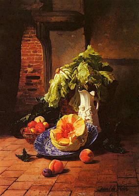 Noter David Emil Joseph De A Still Life With A White Porcelain Pitcher Fruit And Vegetables Poster by David Emile Joseph de Noter