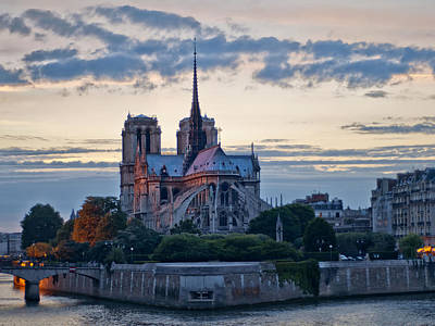 Notre Dame At Sunset Poster