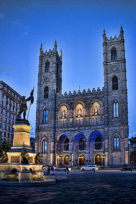 Notre Dame Basilica In Montreal As Dusk Poster by David Smith