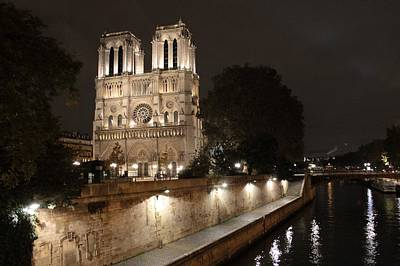 Poster featuring the photograph Notre Dame Cathedral From Petit Pont by Christopher Kirby