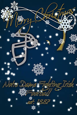 Notre Dame Fighting Irish Christmas Card Poster by Joe Hamilton