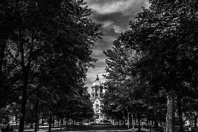 Notre Dame University Black White Poster by David Haskett