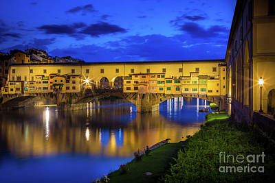 Notte A Ponte Vecchio Poster by Inge Johnsson