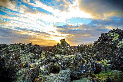 November Light Over Icelandic Lava Field Poster