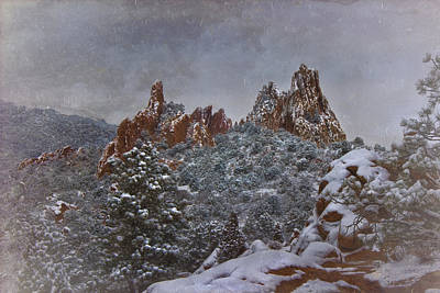 Poster featuring the photograph November Snow - Garden Of The Gods by Ellen Heaverlo