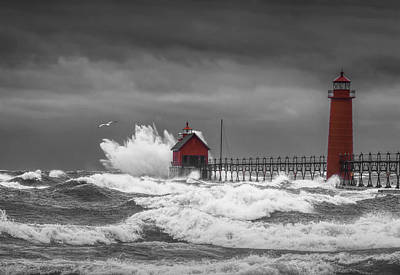 November Storm  With Flying Gull By The Grand Haven Lighthouse Poster by Randall Nyhof