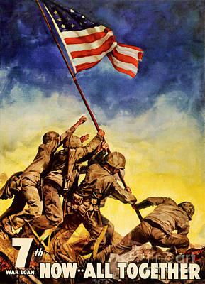 Now All Together Vintage War Poster Restored Poster by Carsten Reisinger