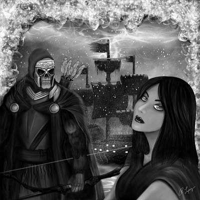 Now Or Never - Black And White Fantasy Art Poster by Raphael Lopez