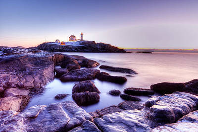 Poster featuring the photograph Nubble In The Morning by Chris Babcock