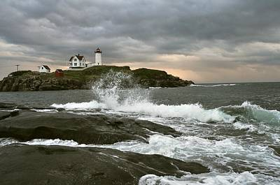 Nubble Light In A Storm Poster