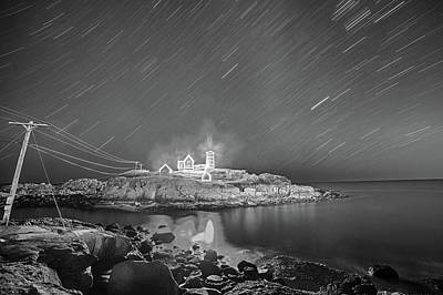 Nubble Light In York Me Hurtling Through Space Cape Neddick Black And White Poster by Toby McGuire