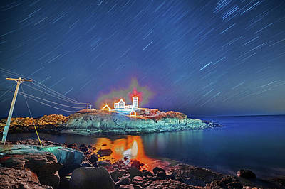 Nubble Light In York Me Hurtling Through Space Cape Neddick Poster by Toby McGuire