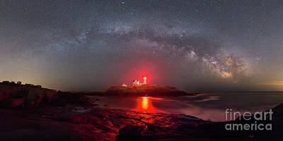 Nubble Light Milky Way Panorama  Poster by Michael Ver Sprill