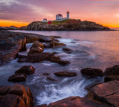 Nubble Light Sunrise Poster
