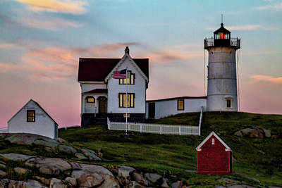Nubble Lighthouse At Dusk  Poster