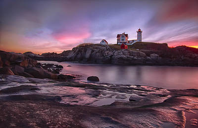Nubble Lighthouse At Sunrise York Me Poster by Betty Denise