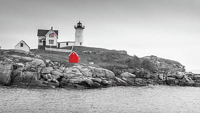 Poster featuring the photograph Nubble Lighthouse In Color And Black And White by Doug Camara