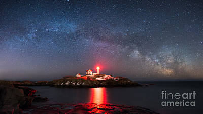 Nubble Lighthouse Milky Way Pano Poster by Michael Ver Sprill