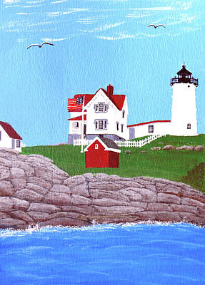 Nubble Lighthouse Painting Poster