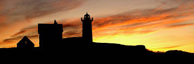 Nubble Lighthouse Silhouette Poster