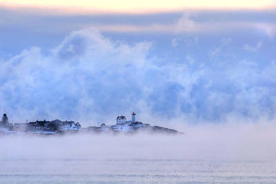 Nubble Lighthouse Sunrise With Sea Smoke - York, Maine Poster by Joann Vitali