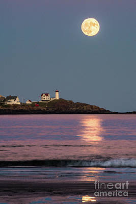 Nubble Moon Reflection Poster by Benjamin Williamson
