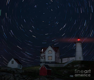 Nubble Startrails Poster by Jerry Fornarotto