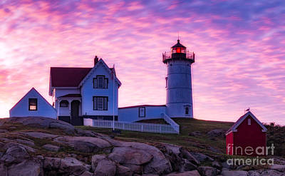 Nubble Sunrise Poster by Jerry Fornarotto