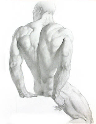 Poster featuring the drawing Nude 3 by Valeriy Mavlo