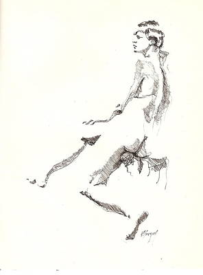 Poster featuring the drawing Nude 7 by R  Allen Swezey