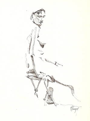 Poster featuring the drawing Nude 8 by R  Allen Swezey