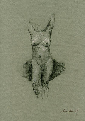 Nude Art Print Drawing Poster by Juan  Bosco