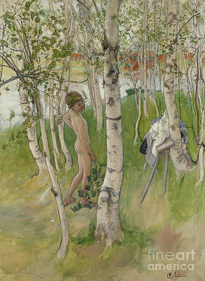 Nude Boy Among Birches Poster by Carl Larsson