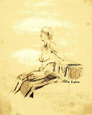 Nude Female Seated Looking Away Poster
