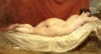 Nude Lying On A Sofa Against A Red Curtain Poster