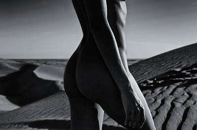 Nude On Desert Sandy Dunes Poster