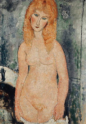 Nude Standing Poster by Amedeo Modigliani