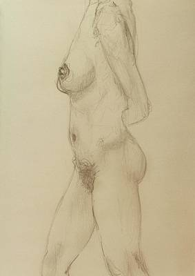 Nude Torso Standing Poster by Rand Swift