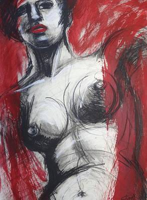 Nude Woman Torso On Red Poster by Carmen Tyrrell
