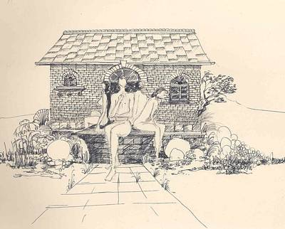 Poster featuring the drawing Nudes Some Rocks And A Cottage by Padamvir Singh