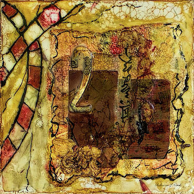 Poster featuring the mixed media Number 2 Encaustic Collage by Bellesouth Studio