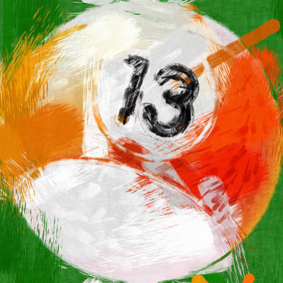 Number Thirteen Billiards Ball Abstract Poster by David G Paul