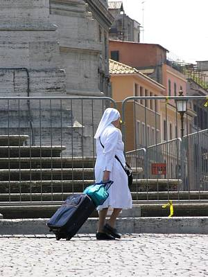 Nun Dragging Her Suitcase Poster by Shirley Stevenson Wallis