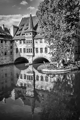 Nuremberg Hospital Of The Holy Spirit And River Pegnitz Monochrome Poster by Melanie Viola