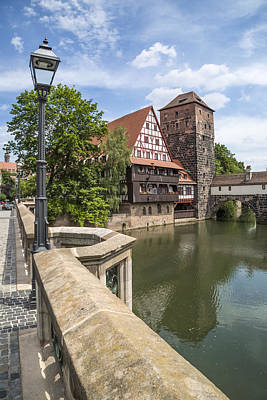 Nuremberg View From Maxbridge To Hangmans Bridge Poster by Melanie Viola