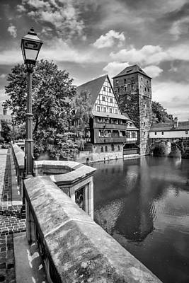 Nuremberg View From Maxbridge To Hangmans Bridge Monochrome Poster by Melanie Viola