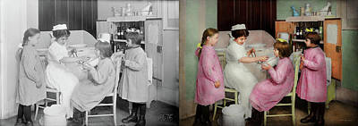 Poster featuring the photograph Nurse - Playing Nurse 1918 - Side By Side by Mike Savad