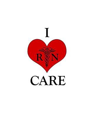 Nursing I Care -  Red Poster by Mark Kiver
