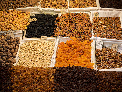 Nuts And Dried Fruit For Sale In Souk Poster by Panoramic Images
