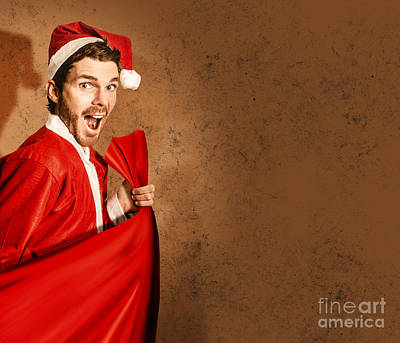 Nutty Santa In A Mad Rush Shopping Spree Poster